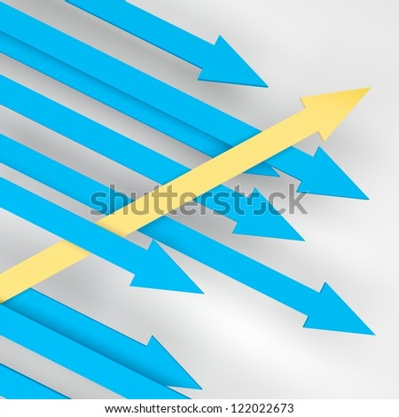 3d render illustration of a yellow arrow showing different trajectory compared to its competitors.