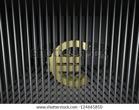 3d render illustration of an imprisoned euro symbol.