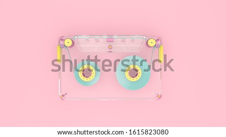 3d render illustration of audio cassette on pink background. Retro 80's style. Cute and pastel colors.  Modern trendy design.