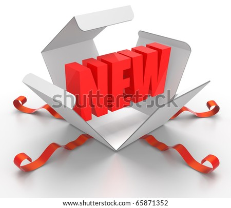3D render illustration of box being opened, revealing a New word symbol