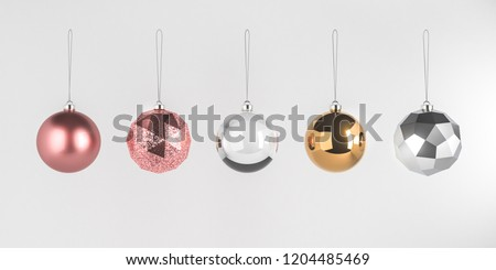 3d render illustration of christmas round balls on white background. Set of glass baubles hanging on rope. Glossy realistic elements for promo, party, event design. Rose gold, transparent, silver toys