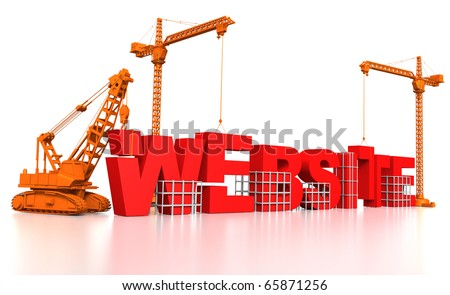 3D render illustration of construction site, including cranes and lifting machine, where the word Website is being built. - stock photo