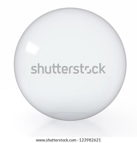 3d render illustration of empty glass ball on white background - stock photo