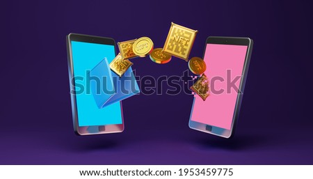 3D render illustration of golden coins, and NFT, Crypto currency coins, into wallet on smartphone, online payment, transaction concept