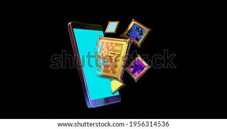 3D render illustration of golden NFT, Crypto currency coins getting into a smartphone, online payment, transaction concept