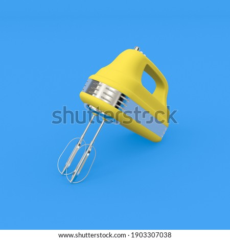 3d render illustration of hand mixer. Modern trendy design.  Blue and yellow colors. Photo stock ©