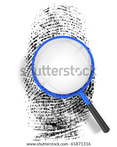 3D render illustration of magnifying glass hovering over a finger print, revealing blank copy space