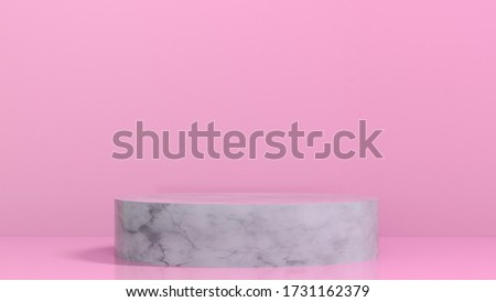 3D render illustration of marble podium pedestal on pink background. Great for showcasing your product. Elegant chic classy modern design.