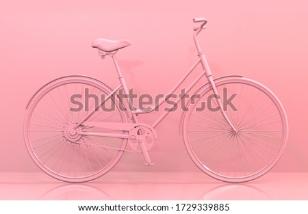 3D render illustration of monochromatic pink bike background. Textless perfect for title card or presentation.