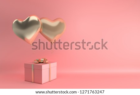 3d render illustration of realistic gold glossy heart balloon, gift box with golden bow on pink background. Valentine's Day romantic elegant 14 february card.