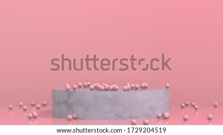 3D render illustration of salmon pink balls resting on marble podium with room for your text. Living coral color background makes a great illustration for your advertising presentation.