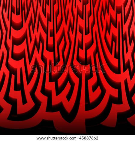 3d Render illustration of Simple red maze