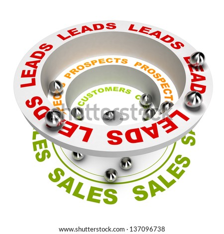 3D render illustration of the sales process or how to concert leads into sales, white background