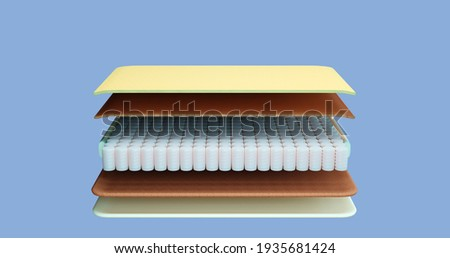 3d render illustration of the stylized internal composition of the mattress front view Cut of the mattress by layers base, spring block polyurethane foam layer, breathable layer, layer with coconut fi