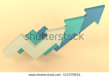 3d render illustration of three graphic arrows bouncing and going upward.