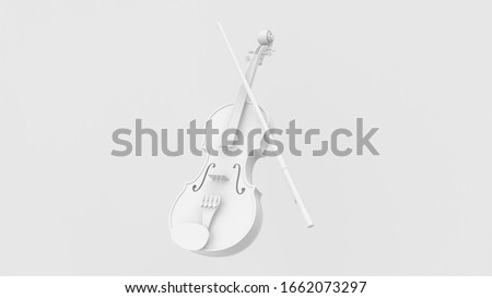 3d render illustration of violin. Musical instrument. Retro 80's style. White color.  Modern trendy design. Foto d'archivio ©