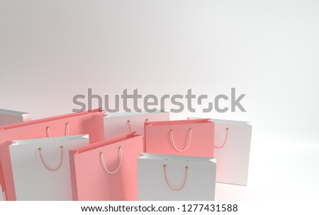 60ce0bde9 3D render illustration. Set of pastel colored paper shopping bags on white  background. Concept