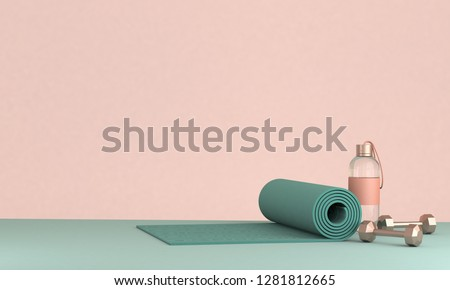 3D render illustration, sport fitness equipment, female concept, yoga mat, bottle of water, dumbbells,