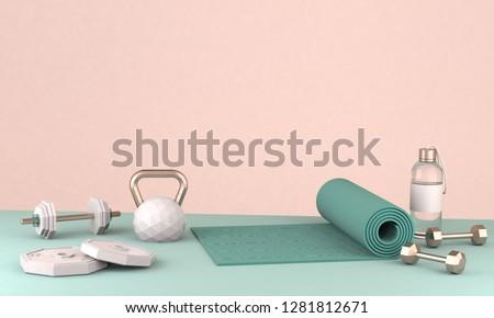 3D render illustration, sport fitness equipment, female concept, yoga mat, bottle of water, dumbbells, weights,