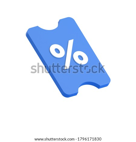 3D RENDER ILLUSTRATION TICKET VOUCHER COUPON DISCOUNT LOGO ICON ISOLATED ON WHITE BACKGROUND
