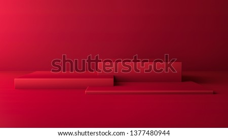 3D render illustration with abstract geometric shapes. Dark red color cubes for product promotion. Minimalist design in modern, realistic style with empty space.