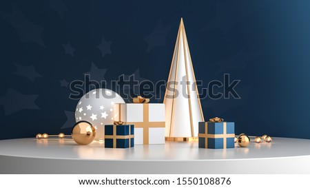 3d render illustration with christmas symbols staying on the round white platform. Golden gifts, light ball, lamp garland and metallic cone in modern design scene. Festive template for social media.