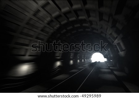 3d render: illustration with glowing end of subway tunnel with motion blur