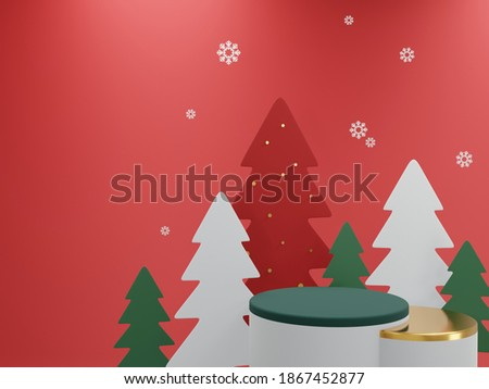 3D render - image merry Christmas red and green background, Christmas background, Winter landscape, holiday Christmas new year concept