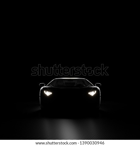 3d render image of a sports car with its headlights on. Dark background with carbon fiber texture. Front view.