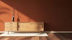 3d render image of a warm red brick wall in the living room which has a wooden media cabinet and morning sun light shine through the window. Nobody, Minimal design, Contemporary, Pantone, Background.