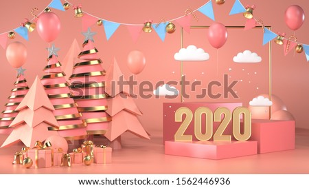 3d render image of christmas and new year text 2020 for celebrate next year.
