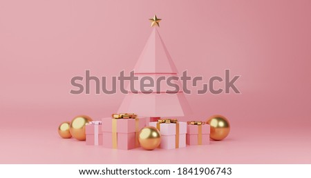 3d render image of christmas tree and gift box design for christmas holiday decorate stock photo