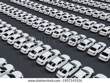 3D render image representing a fleet of white luxury cars arranged in pattern