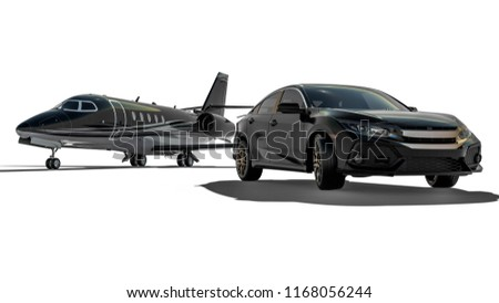 3D render image representing an luxury airplane with a limo