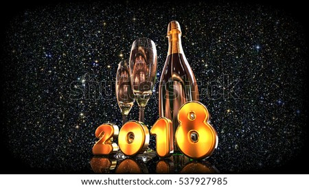 3D render image representing New years eve with champagne / Happy new year 2018