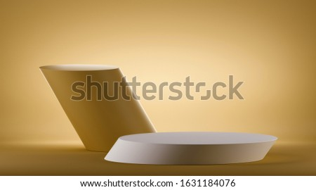 3d render, inclined cylinder pedestal, empty podium, blank mockup with copy space. Empty stand for product display, commercial showcase. Abstract yellow geometric background, modern minimal concept.