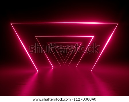 3d render, infrared neon triangular portal, glowing lines, triangle, tunnel, corridor, virtual reality, abstract fashion background, bright neon lights, arch, red spectrum vibrant colors, laser show