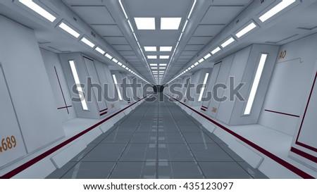 3d render interior. Futuristic hallway. Interior concept design #435123097