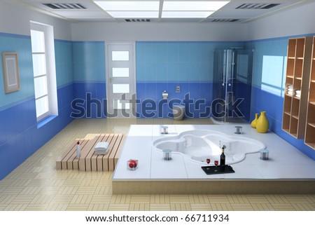 3d render interior of luxury modern bathroom