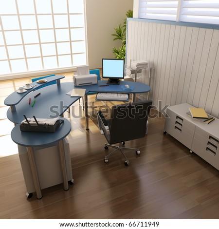 3d render interior of modern office - stock photo