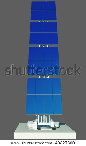 3D render - isolated futuristic solar power cell on concrete platform. Blue sky reflection in panels.