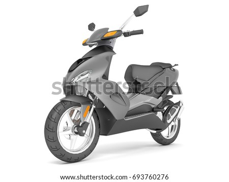 3d render isolated on white background gray scooter.
