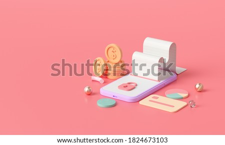 3D render isometric Online money transfer payment, Secure online payment and mobile banking concept. 3D illustration