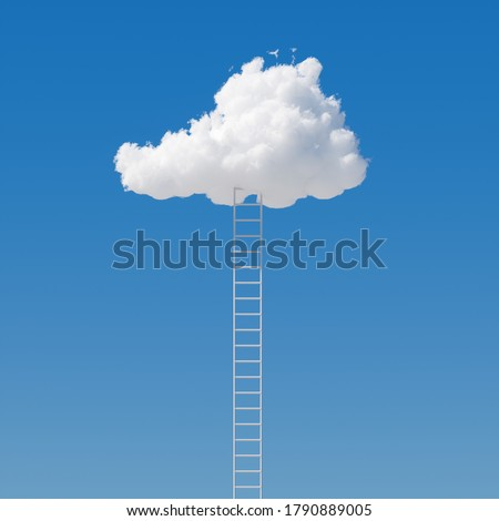 3d render, ladder reaches the white cloud on the blue sky. Motivation metaphor, surreal dream, challenge concept