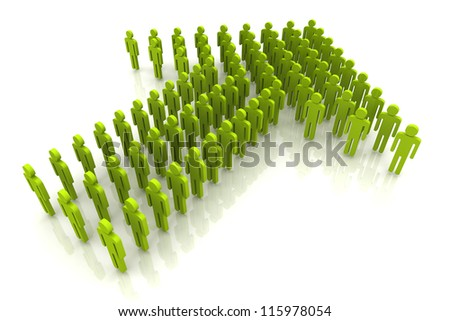 3D Render Light Green Color Human Arrow Unity and Teamwork