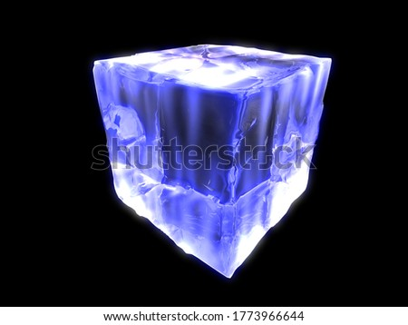 3d render. Light ice. Glow effect. Glowing cube. Straight broken cube. LED ice. Shining neon ice. Glowing ice cube. Glowing abstract sparkling. Beautiful glowing cube.