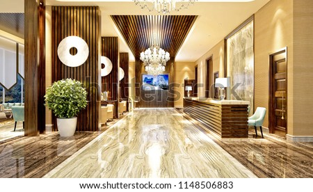 3d render luxury hotel entrance lobby Zdjęcia stock ©