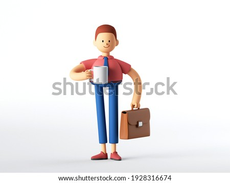 3d render. Man cartoon character holds briefcase and cup, coffee break concept, business clip art isolated on white background.