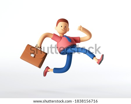 3d render. Man with briefcase runs, businessman cartoon character in a hurry, simple business career clip art isolated on white background.