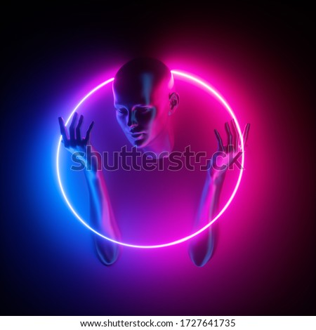 3d render, mannequin body parts, woman portrait inside pink blue neon round frame, ultraviolet light glowing ring. Bald head, beautiful female face, hands. Minimal fashion concept